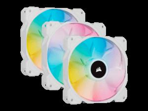 Corsair White SP120 RGB Elite 120mm RGB LED Cooling Fan - Triple Pack
